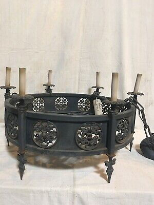 Vintage Cast Iron Gothic Style 6 Light Chandelier