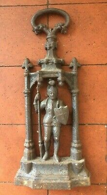 Rare Victorian Cast Iron Medieval Knight / Guard in Armour Door Stop