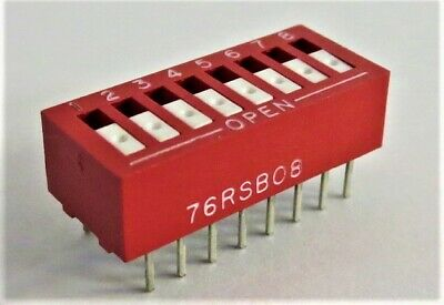 GRAYHILL 76RSB08 Dip Switch SPST 8 Position Through Hole Rocker (TUBE OF 12)