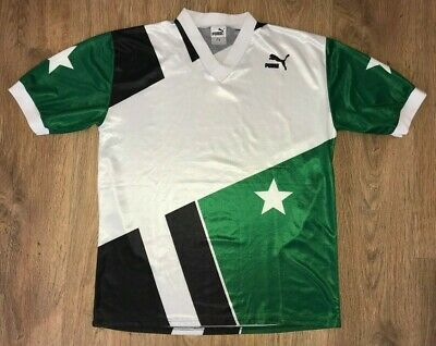 Puma West Germany vintage 80s green black white football template shirt size L