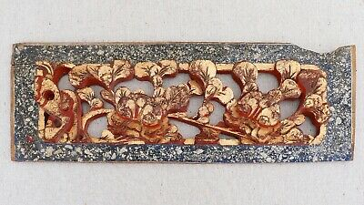 Antique Hand Carved Chinese Wood Panel Peony Flowers Red Gold Lacquer