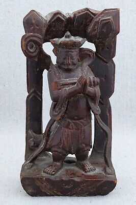 """Antique Hand Carved Chinese Lacquered Wood Panel Fragment Immortal God 6½"""""""