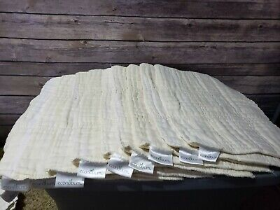 econobum cloth diaper inserts lot of 10 17'' by 12'' 100% Cotton used set