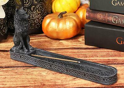 "Ebros Stoic Sitting Alpha Wolf Incense Burner Holder 9.5"" Long Home Decor"