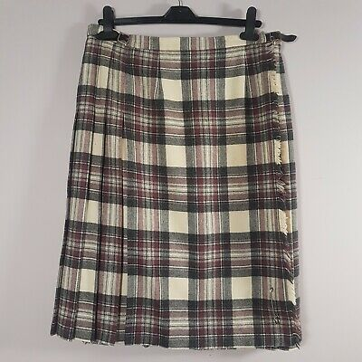 VINTAGE Pitlochry Wool Kilt Sz M 14/16 Tartan Skirt Pink Beige Purple Pleated