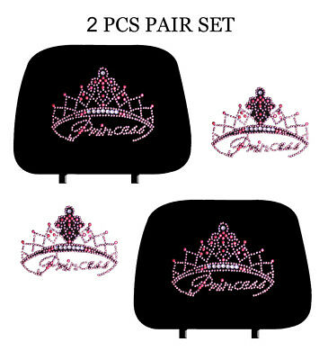 Car Truck Crystal Bling Rhinestone Studded Seat Head Rest Covers PAIR-KAH-1139