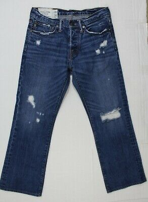 Abercrombie & Fitch 28 X 27 Men's Baxter Low Rise Slim Boot Destroyed Jeans