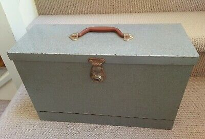 Vintage large metal expandable tin storage box carry case with handle retro