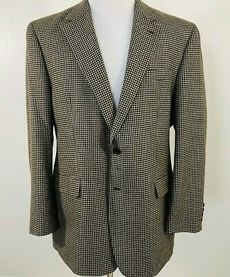 Ralph Lauren Mens Brown Houndstooth Wool Tweed Suit Jacket Blazer Sportscoat 44R