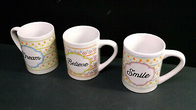 "SET OF 3 GIBSON HOME INSPIRATIONAL MUGS, DREAM / BELIEVE / SMILE, 4"" Tall"