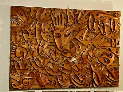 """HUGE"" Wooden Hand Carved MURAL 59"" by 41"" from Ecuador by Luis Potosi MUST SEE"