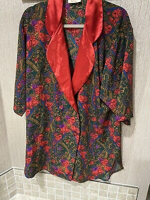 VTG Victorias Secret Gold Label Red Floral Paisley Double breast Robe Nightie M