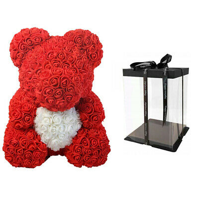 Weihnachtsgeschenk Rose Bear Flower Wedding Party Love Teddy 40cm Box Weiß Herz