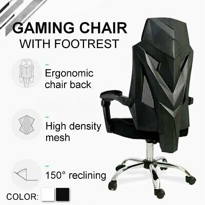 Mesh Chair High Back Racing Gaming Office Ergonomic Recliner Seat With Footrest