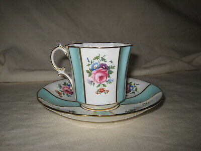 Hammersley Tea Cup & Saucer Light Blue Panels Hand Painted Roses Flowers 5663/7