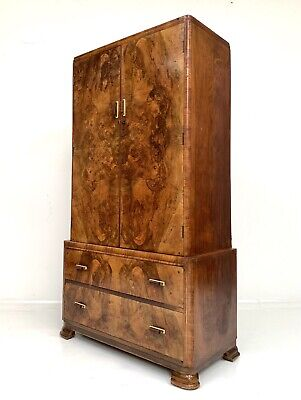 ART DECO VINTAGE ANTIQUE WALNUT GENTS FITTED COMPACTUM WARDROBE DRAWERS c1940