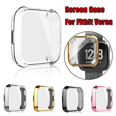 Soft TPU Silicone Shell Frame Full Case Cover Screen Protector for Fitbit Versa