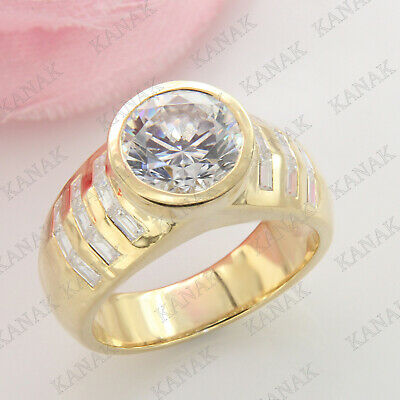 10k Real Yellow Solid Gold 6.75 Ct Round & Baguette Cut Diamond Mens Band Ring