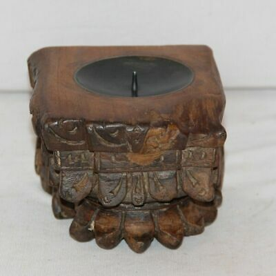 Antique Wooden Miniature Hand Carved Candle Holder Wall Hanging Decorative India