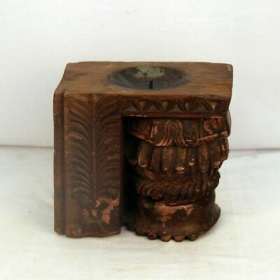 Antique Wooden Block Miniature Carved Candle Stand Tableware and Wall Hanging