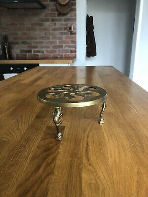 Antique ~  Three Legged  Brass Iron Kettle/ Pan Trivet Stand
