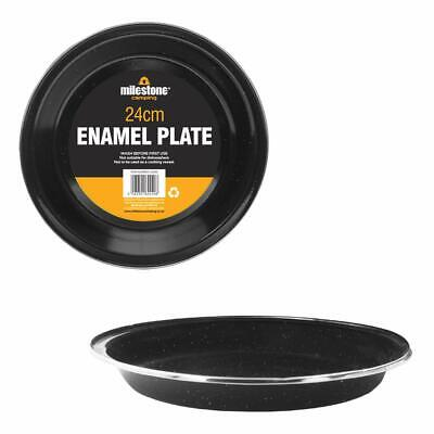 8 x Enamel Finish Camping Plate Tin Picnic 23cm Bowl Outdoor Garden Table LPLATE