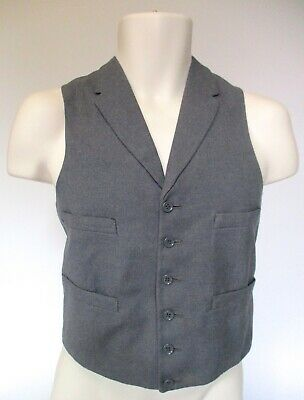 Vintage Men's Waistcoat  Grey 1960s single breasted with 4 pockets (N251)