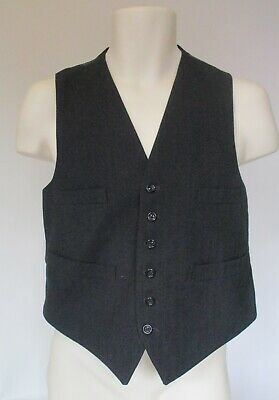 Vintage Men's Waistcoat Charcoal 1950s single breasted with 4 pockets (N253)