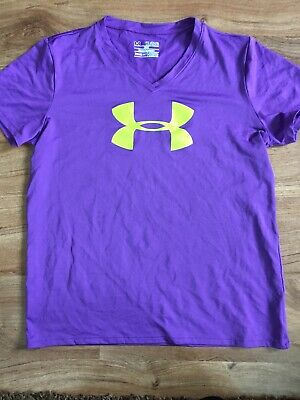 Girls UNDER ARMOUR Heat Gear Tshirt, XL Loose Fit, Purple