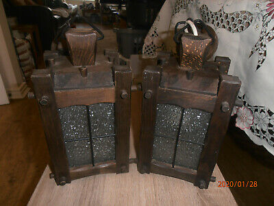 2 x Wooden Arts And Crafts Style Hall Porch Lantern / Light Shades