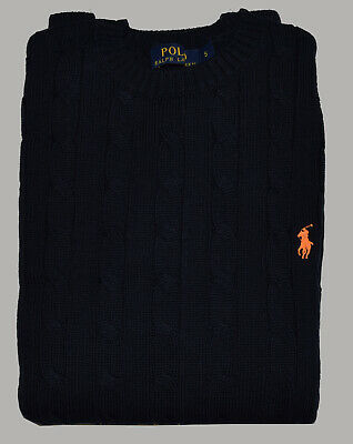 Mens Polo Ralph Lauren Cable Knit  LongSleeve Small Pony Custom Fit Jumper