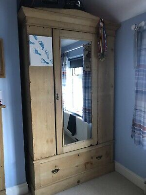 antique pine single wardrobe