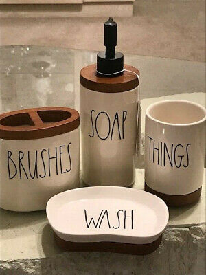 Rae Dunn Wooden Grain Bathroom Set of 4 pieces SOAP- BRUSHES- THINGS -WASH