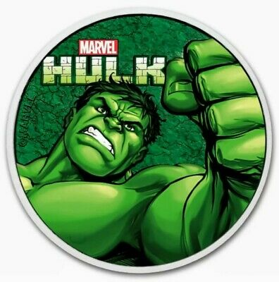 2019 Tuvalu MARVEL HULK Colorized 1oz .999 Silver Coin - Box & COA