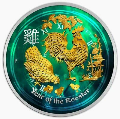 2017 Australian Year of the Rooster Colorized Gold Gilded 1/2 oz Silver Coin