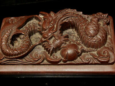 Vintage Chinese Ink Stone With Carved Dragon Signed