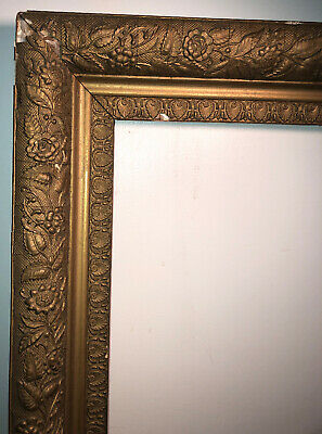 """Antique Victorian Aesthetic Gilded Wood Frame Gesso Floral 33.5 """"x 26 3/8"""""""