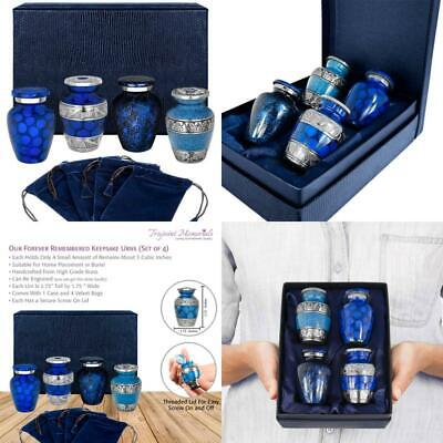 Forever Remembered Classic Blue Small Mini Cremation Keepsake Urns For Human Ash