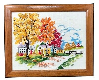 Vintage Completed Needlepoint Canvas French Country Autumn Oak Framed 13 x 16
