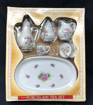 "Royal Norfolk Pink Rose 8 Piece Porcelain Play Tea Set 10"" American Girl Doll"