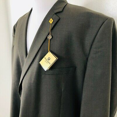 NWT Stacy Adams Gold Mens Olive Green Blazer Jacket Suit Coat Lined Sz 56 L