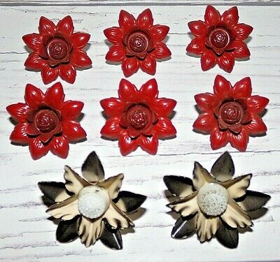 8 Vintage Flower Floral Curtain Tie-Backs Enameled Metal Push Pins