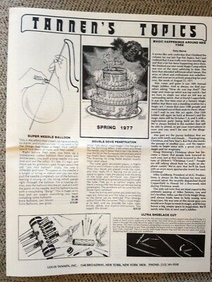 Tannen's Topics, Spring 1977, Louis Tannen Magic, 6 pages, w/Envelope