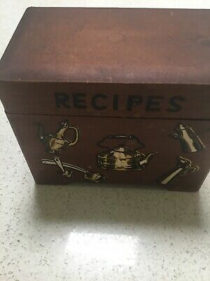 Vintage Recipe Box, Wooden, Made In Japan