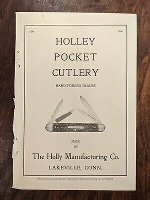 1904 Print Ad Holley Pocket Cutlery Print Ad Holly Lakeville Ct. Vintage Knife