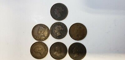 Canada pennies Lot of 7 coins 1882 H  - 1915 good condition