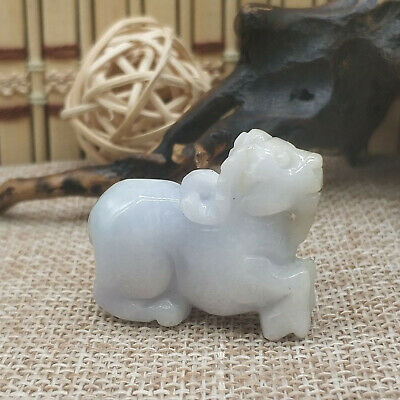 Chinese Hand-carved aristocratic wearing Jadeite jade pendant sheep