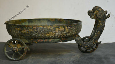 "16"" Rare Old Chinese Dynasty Bronze Word Beast Vessel Ware Wine Basin Bowl Plate"