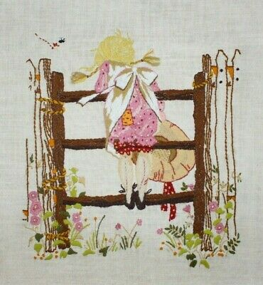 """Holly Hobby """" At the Gate"""" Girl by Bucilla Crewel Embroidery Completed Finished"""