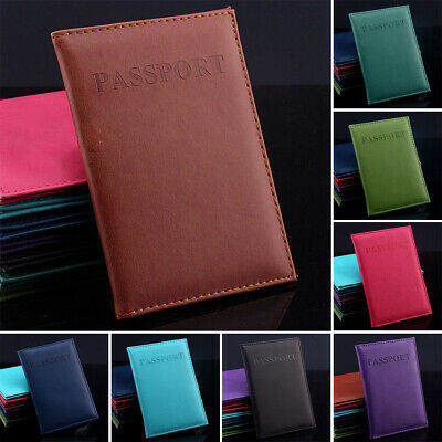 Passport Holder Cover Ticket Card Case Hot Sale Solid Pu Leather Travel Wallet
